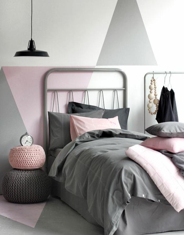 Maison moderne chambre rose et gris style scandinave peinture rose poudré gris et blanc idée déco mignonne