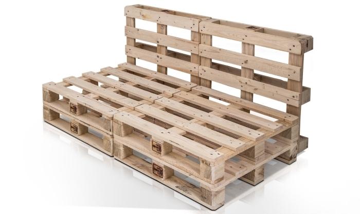 idée quoi faire avec palettes bois, mobilier en palette pour jardin ou terrasse avec banc en bois clair composé de deux palettes