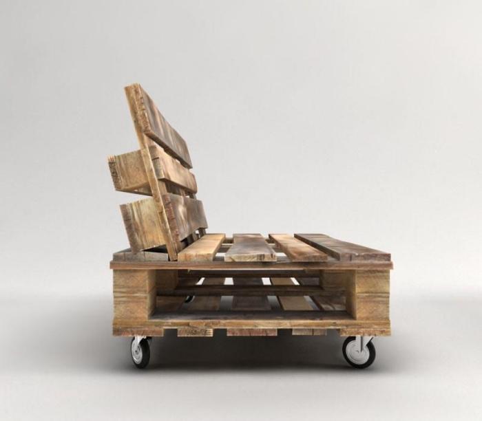 exemple de mobilier en bois pour jardin ou intérieur de style brut, modèle de fauteuil ou banc en palettes de bois foncé
