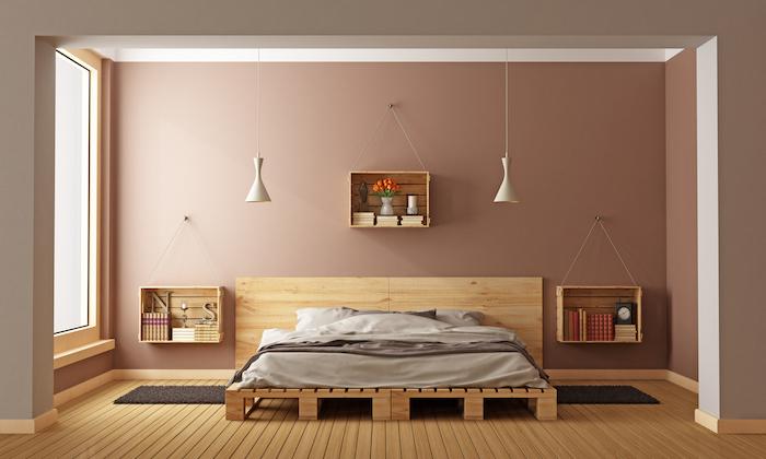 modele sommier palettes bas et caisse en bois déco murale pour chambre moderne style japonais