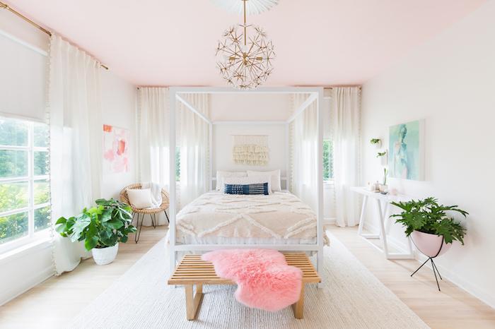 La plus belle chambre blanche et grise peinture rose poudré design moderne chambre mignonne