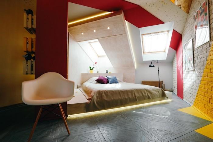 Décoration peinture salon aménagement chambre adulte coloré joliment design