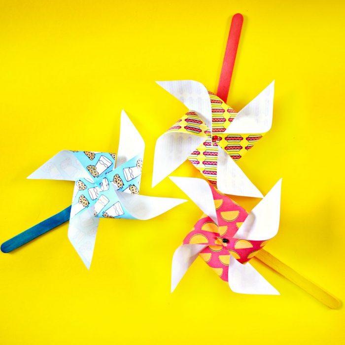 moulin à vent en batonnet de glace coloré et papier, activité manuelle primaire a realiser soi meme