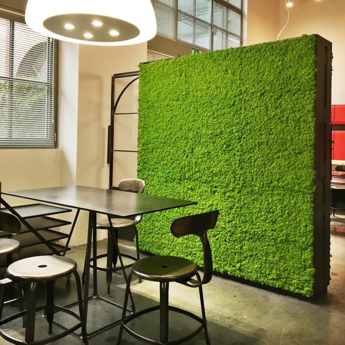 mur végétal palette, panneau carré avec de la mousse verte qui sert comme séparateur d'espace, salle a manger et salon séparés avec du vert, espace prédisposant au relax, mur végétalisé