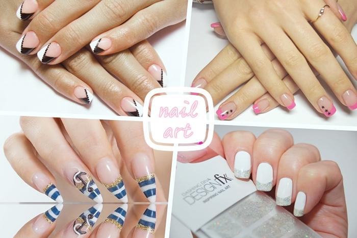 modèle de déco nails avec vernis de base nude et motifs triangulaires en blanc et noir, nail art à design marine en blanc et bleu