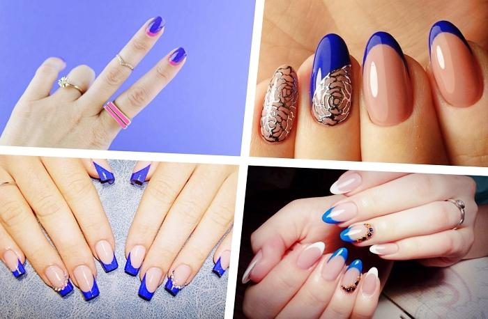 deco ongle à vernis bleu foncé, modèle de nail art français avec base nude et traits bleu à déco dorée aux motifs floraux