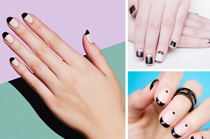 idée deco ongle tendance en blanc et noir avec lignes à effet demi-lune, manucure pour ongles mi-longs à base nude et bouts noirs