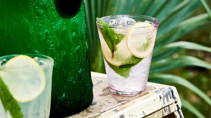 exemple de boisson fraiche verte préparée avec de l'eau gazeuse et jus de citron vert pressé et garni de feuilles de menthe