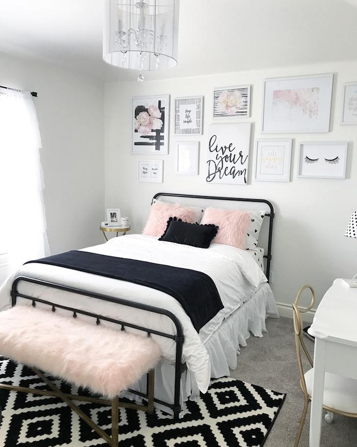 Intérieur déco chambre gris et rose peinture rose poudré quelle décoration chambre moderne noir blanc et rose