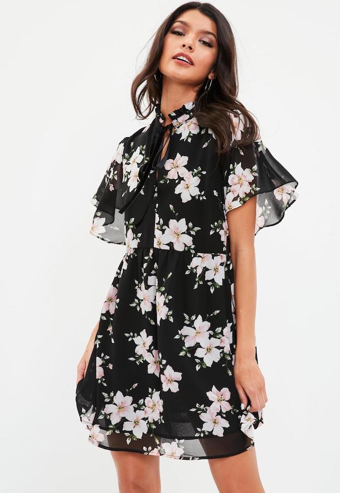 Robe de plage longue robe été longue bohème chic robe d'été légère noire fleurie