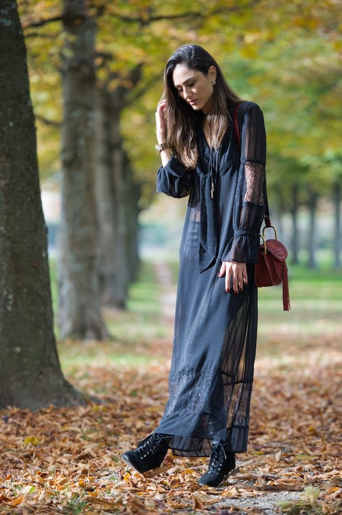 Vetement hippie chic robe longue pas cher ma robe d aujourd hui automne tenue bohème longue robe noire