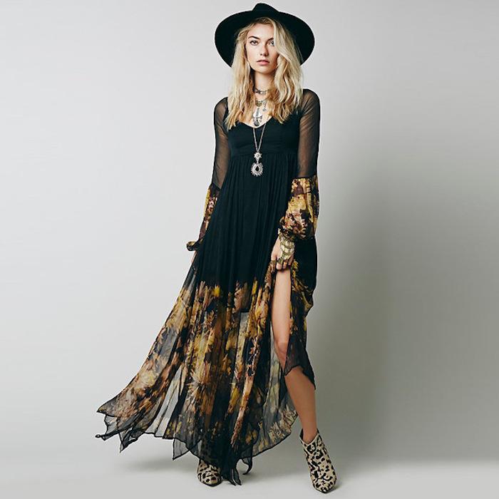 Robe blanche boheme vetement hippie chic femme stylée confort tenue associer une robe dentelle noire avec bottines leopard