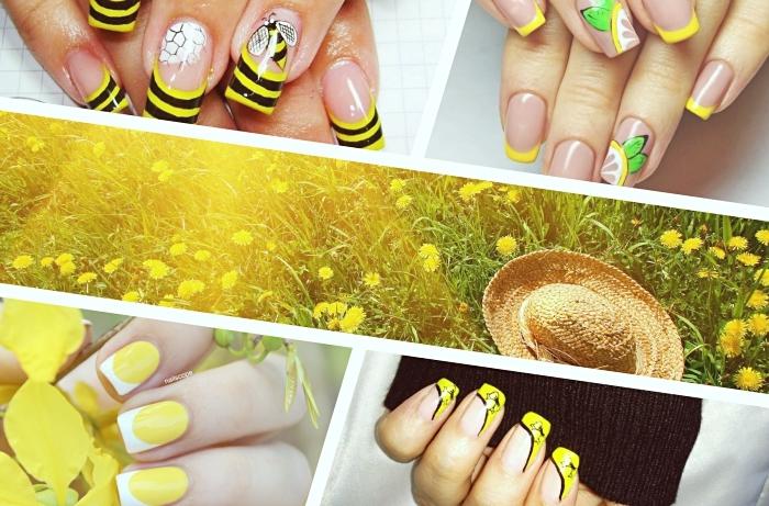 idée pour une deco ongle french en vernis jaune, nail art avec la technique french manucure en jaune et noir et dessins sur l'annulaire