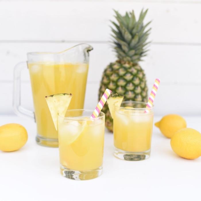 idée pour recette citronnade originale avec eau froide et ananas au jus de citron fraîchement pressé garni avec glaçons