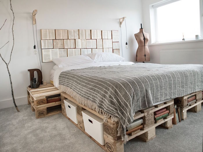 fabriquer un sommier et lit table de chevet avec palettes europe avec rangements dans chambre avec déco design minimaliste