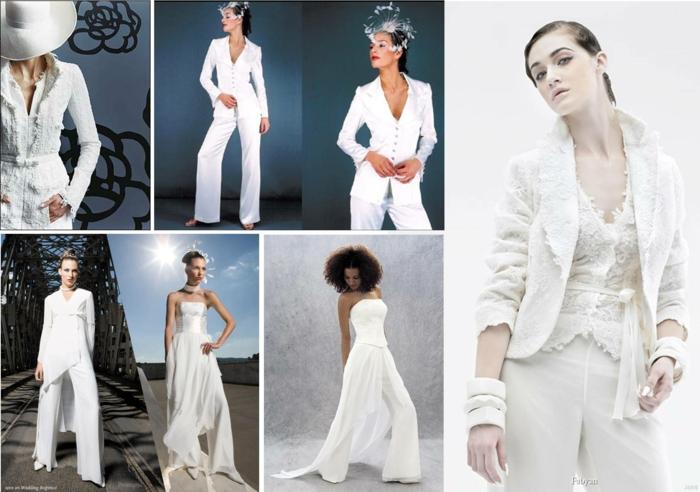 tenue pour assister à un mariage, veste et pantalon blancs, collage avec sept modèles de tenues de mariage femme avec pantalon, deux modèles avec chapeaux