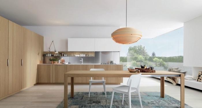 cuisine bois et blanc avec revêtement de sol en bois clair et peinture murale blanche, déco de cuisine d'angle