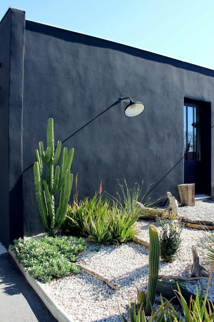une décoration murale extérieure avec mur peint tout en noir, avec grande lampe en métal noir en style industriel, habiller un mur extérieur de peinture sombre, sol recouvert de petits cailloux gris et blancs, végétation exotique et cactus