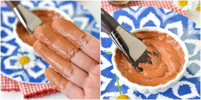 soin visage diy pour la peau sensible, recette de masque nature visage à l'argile rouge et à l'huile d'amande douce