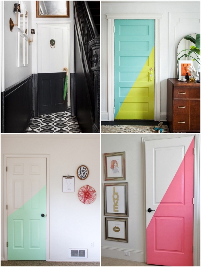 peindre une porte en bois de façon originale en réalisant des motifs graphiques avec de la peinture, réveiller son intérieur avec une porte colorée