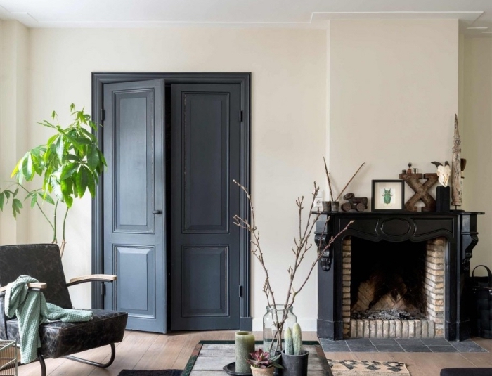 un salon de style campagne chic où la boiserie a été rehaussée par le choix d'une couleur foncée, une porte interieure en gris anthracite qui ne fait pas grise mine