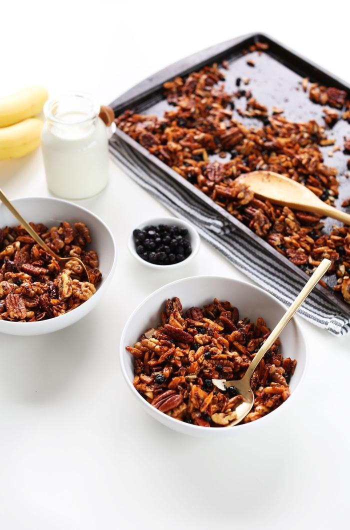 idée pour un petit déjeuner sain et délicieux pour les journées pressées, recette de granola allégé, sans céréales ni sucre ajouté