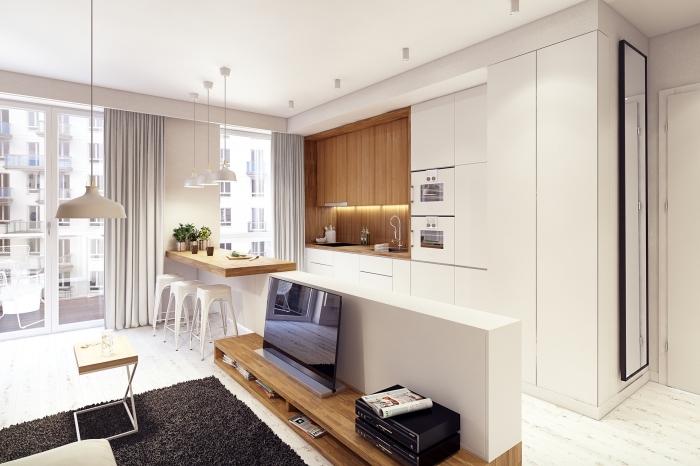 meuble cuisine bois aux murs blancs avec éclairage sous meuble, déco de cuisine blanche avec meubles haut en bois clair