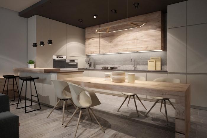 exemple de cuisine moderne au plafond gris anthracite et meubles haut en bois clair avec crédence en gris clair
