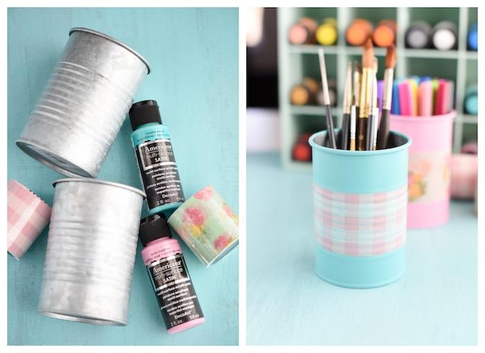 cadeau pour maitresse a faire soi meme, pot à crayons métallique décoré de peinture et une bande de washi tape