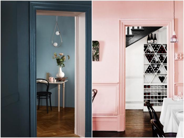 quelle couleur choisir pour peindre une porte en bois, porte peinte de même couleur que les murs, qui se fond dans le décor