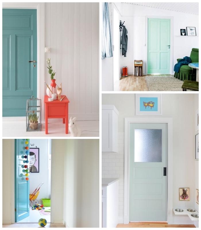 idées pour peindre une porte en bois en nuances du vert d'eau pour apporter de la douceur et de la joie dans l'intérieur blanc