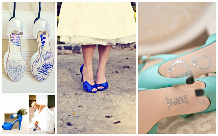 chaussure mariage femme en vert menthe, bleu roi et blanc satin, chaussure mariee, chaussure ceremonie femme, modèles en couleurs pastels