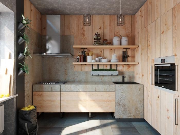 déco d'intérieur petite cuisine au plafond et sol gris avec revêtement de mur partiel en bois clair et étagères de bois