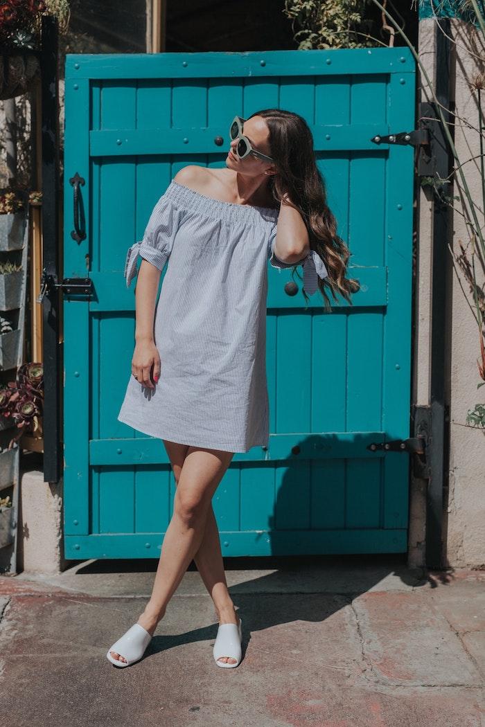 Robe legere robe longue a fleur robe longue ete femme style d'été cool épaules dénudées