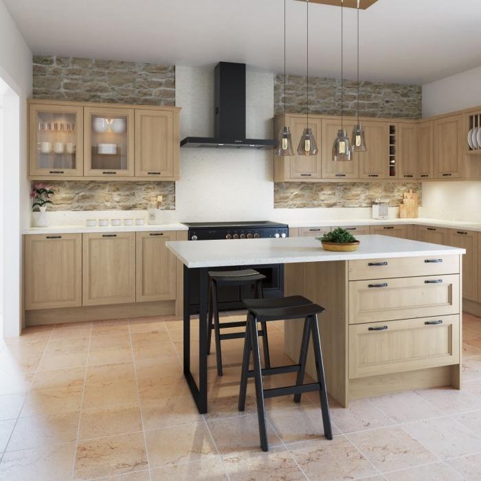 modèle de cuisine blanc et bois avec meubles noir mate et ilot central en bois et blanc, idée éclairage industriel