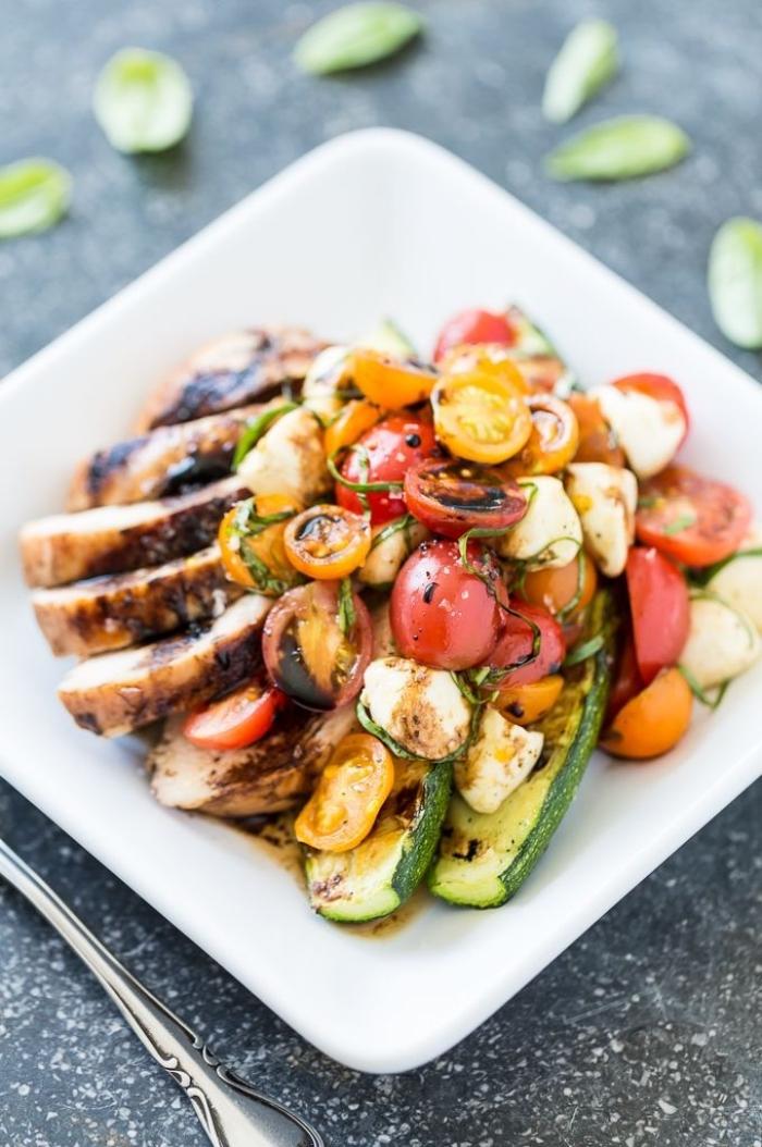 recette d'accompagnement pour un barbecue, une salade de crudités grillées, de poulet, tomates cerises, courgettes et mozzarella