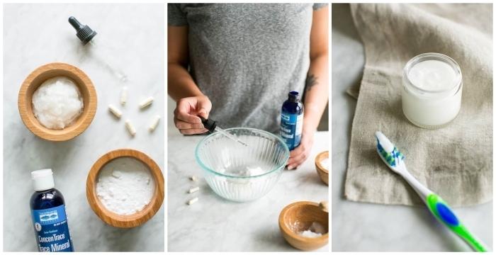 recette dentifrice reminéralisant à l'huile de coco, bicarbonate de soude enrichi de probiotiques