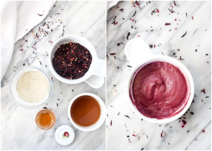 recette de masque visage antioxydant à l'argile bentonite et fleurs d'hibiscus séchées, idée de masque visage maison bouton et point noir à effet purifiant et antioxydant