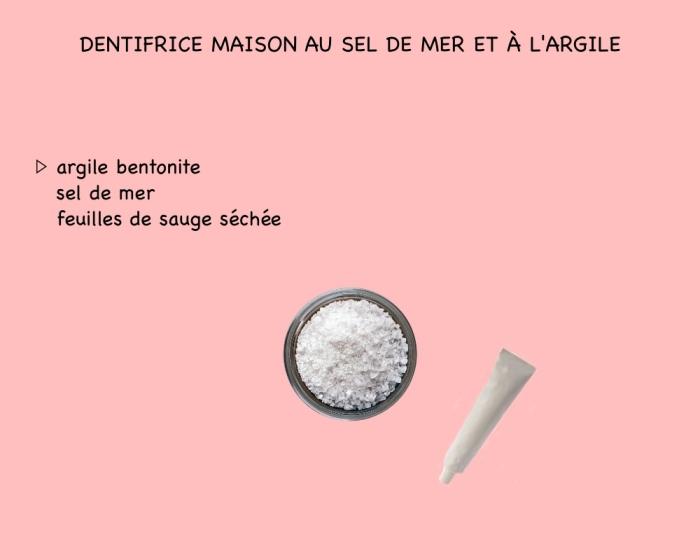 comment fabriquer son dentifrice maison avec seulement trois ingédients, recette d'argile bentonite, sel de mer et feuilles de sauge séchée