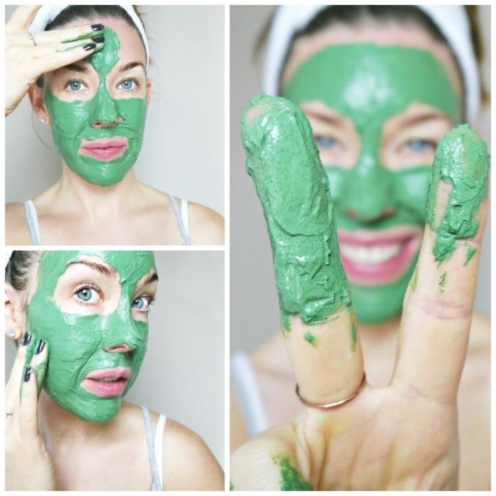 soin du visage avec un masque naturel à la spiruline, enrichi de probiotiques, un masque masque pour les boutons et les impuretés à effet anti-âge