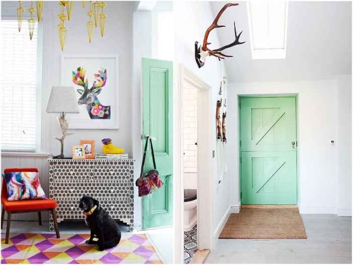 peindre une porte en bois en couleur vert d'eau pour créer un joli effet de contraste avec les murs blancs et donner un air de vacances à l'espace