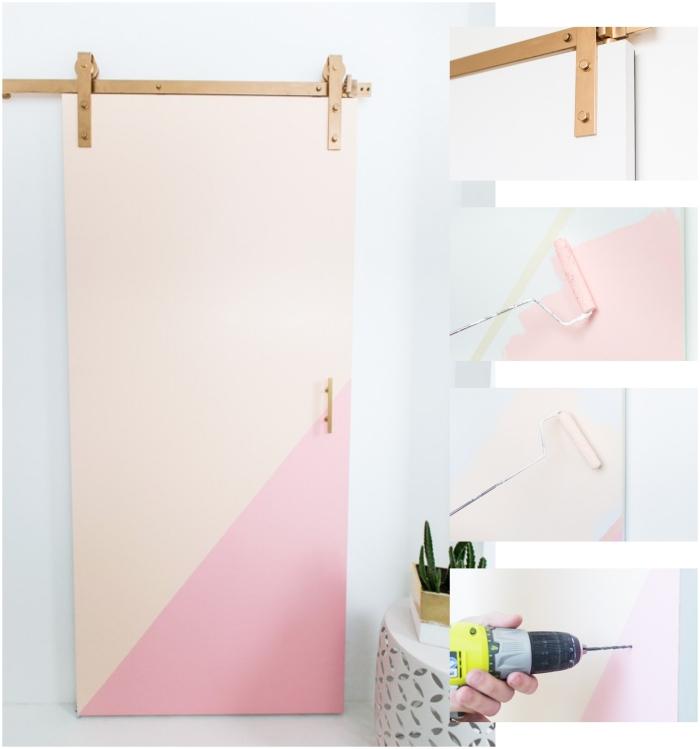 une porte interieure coulissante qui se fait déco grâce à des dessins géométriques en peinture pastel, tuto montage d'une porte coulissante
