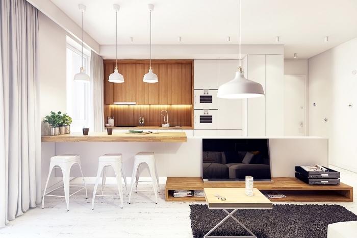 comment aménager une cuisine blanche et bois avec lampes suspendues blanches et meubles haut en bois avec éclairage