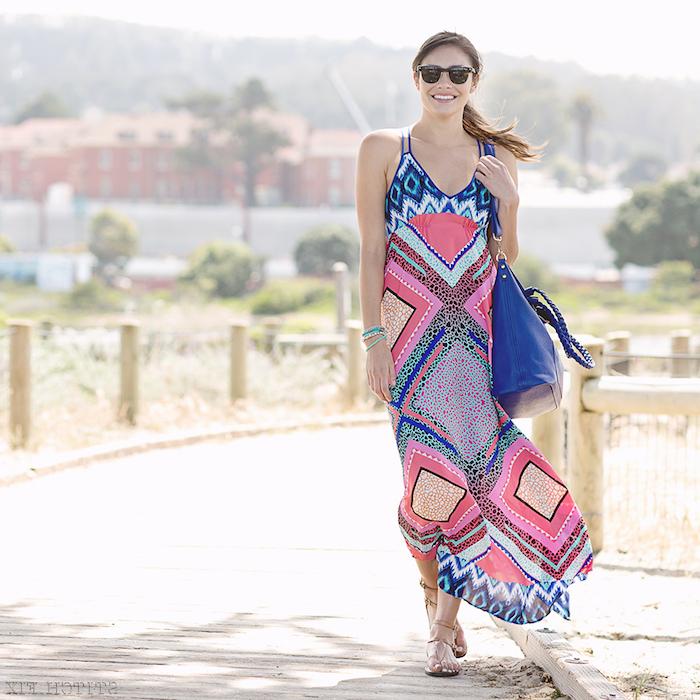 Chouette robe longue moulante robe droite fluide cool idée tenue d'été belles tenues robe longue de plage femme heureuse