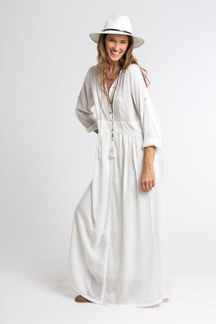 Robe été longue vetement hippie robe longue ete femme cool idee comment porter une robe blanche type chemisier longue