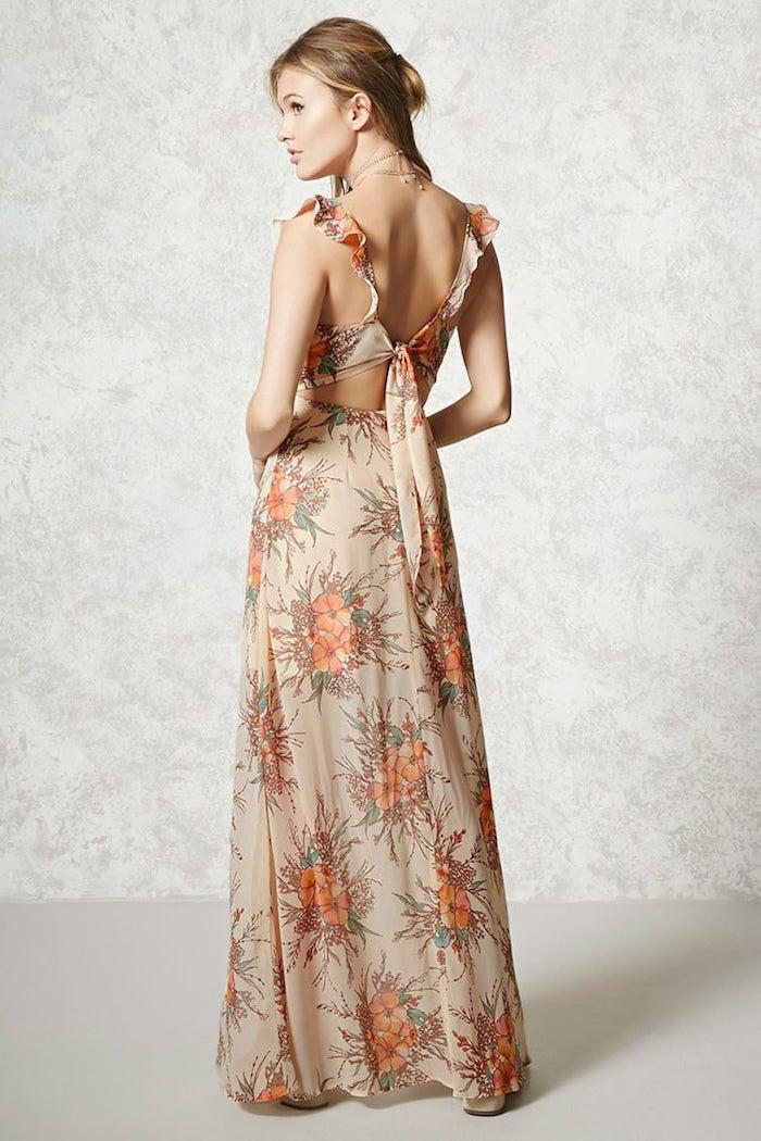 Robe hippie chic dentelle robe fluide longue femme tenue bohème chic longue fleurie dos