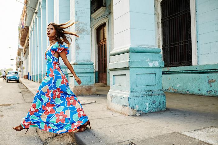 Robe longue ete femme robe fluide longue robe fluide habillée bleu fleurie robe pour vacances à Cuba havana street style