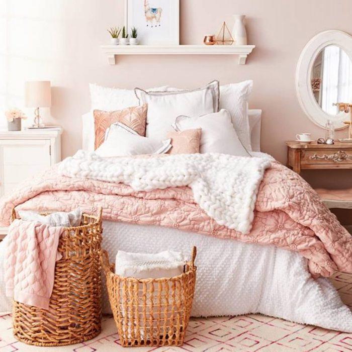 Idée déco chambre à coucher rustique vieux rose couleur chambre rose poudré décoration scandinave hygge style