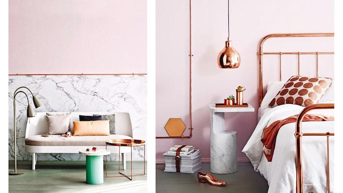 Chambre rose et blanc rose poudree les nouvelles tendances decor moderne chambre à coucher adulte rose gold détails salon meme style