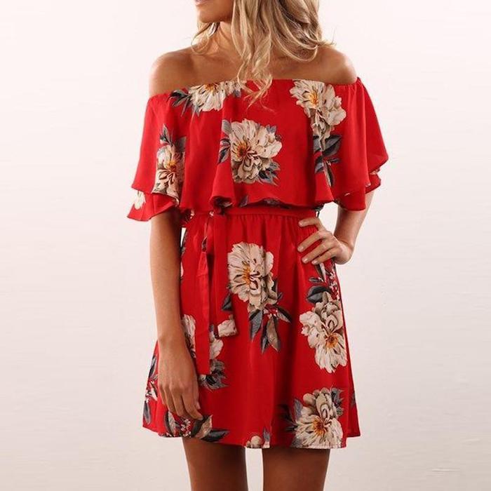 Boheme chic robe droite fluide robe légère été robe pour l été style bohème femme robe épaules dénudées robe rouge fleurie